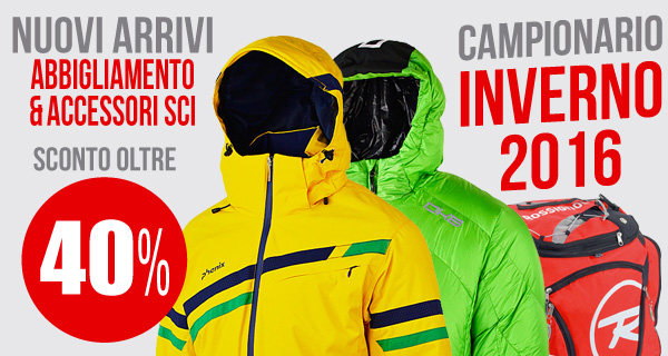 Anteprima abbigliamento sci 2016: nuovi arrivi con sconti oltre il 40%