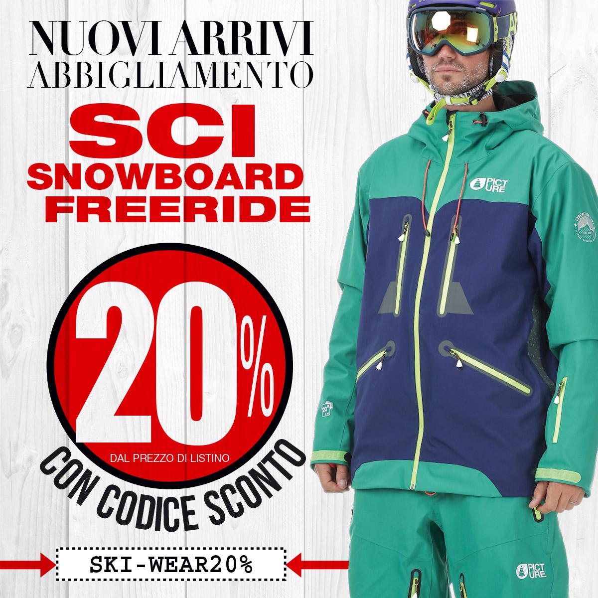 sconto 20% abbigliamento sci, snowboard e freeride