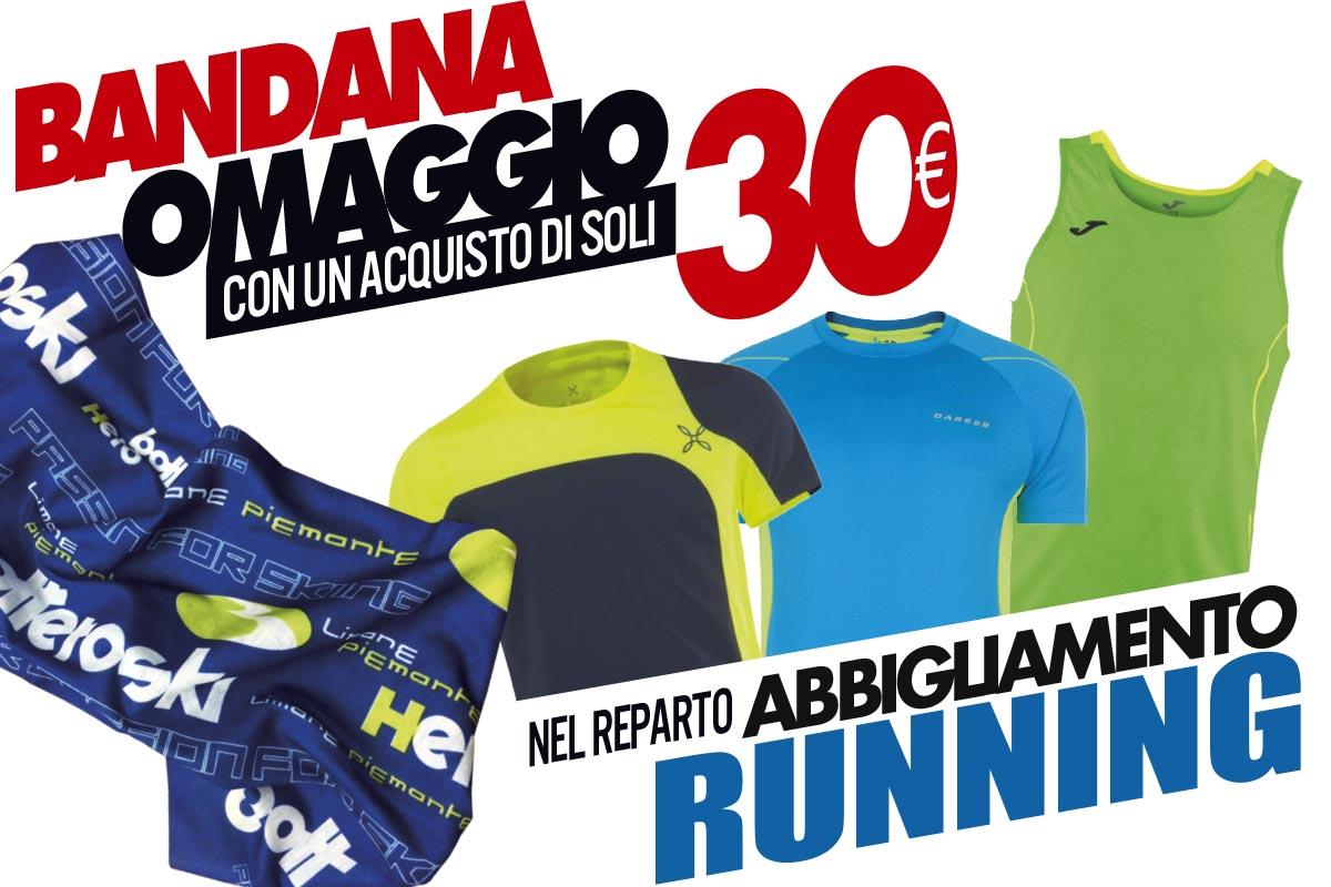 Bandana omaggio per ogni acquisto di abbigliamento running da 30 euro