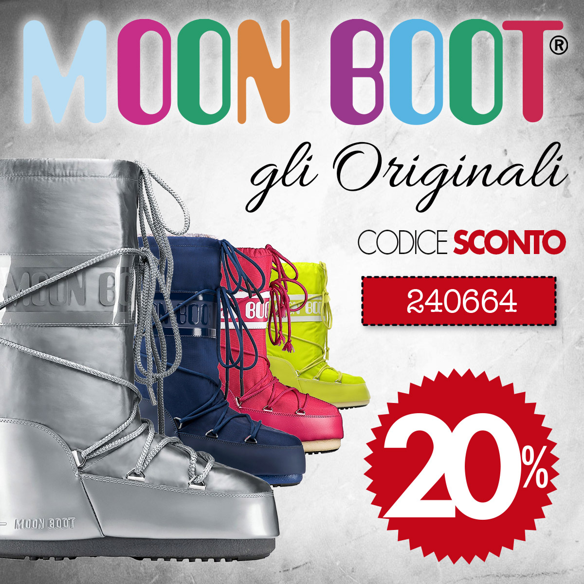 Moon Boot, il must have dei doposci, con lo sconto del 20%